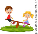 Cartoon kids playing on seesaw in the park 60269387