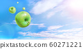 Multiple green apples flying in the blue sky with clouds 60271221