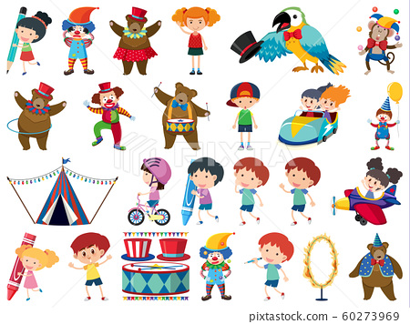 Large set of isolated objects of kids and circus 60273969