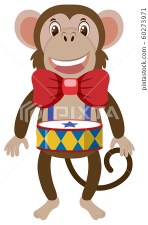 Single character of monkey and drum on white 60273971