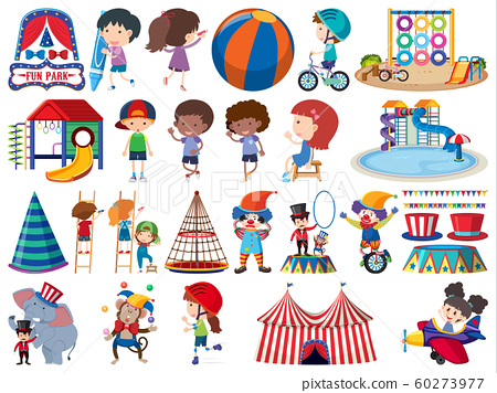 Large set of isolated objects of kids and circus 60273977