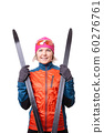 Image of smiling sportswoman with skis on empty white background. 60276761