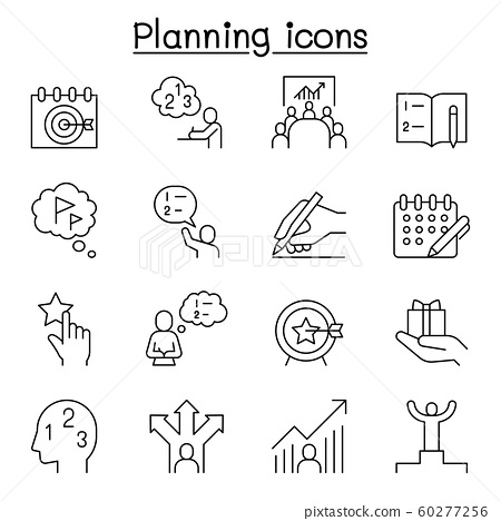 Planning, strategy, schedule icon set in thin line 60277256