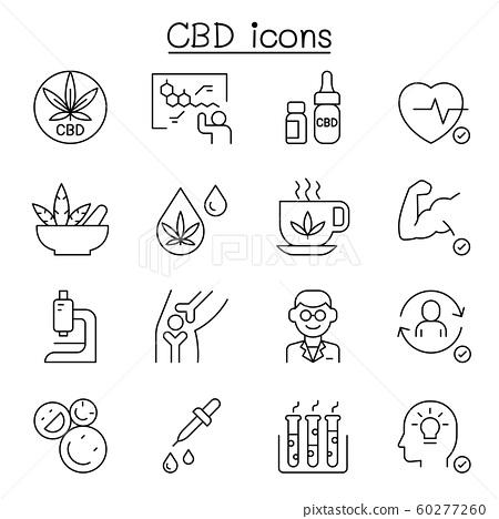 CBD, Cannabis, marijuana icon set in thin line 60277260
