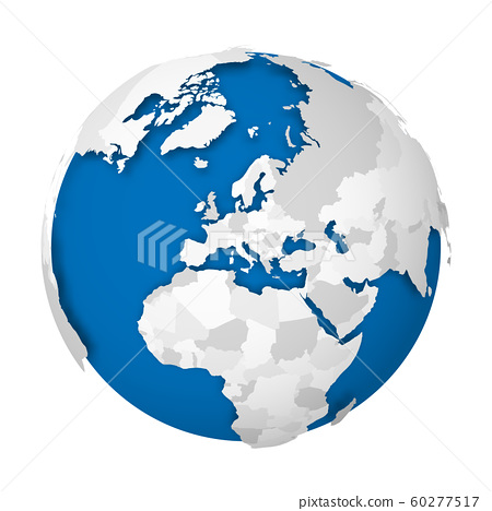 Earth globe. 3D world map with grey political map of countries dropping shadows on blue seas and oceans. Vector illustration 60277517