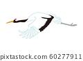 飛丹頂鶴,一個翼位,新年的材料剪貼畫 60277911
