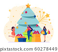 Cheerful girl in costume of elf holding gift box 60278449