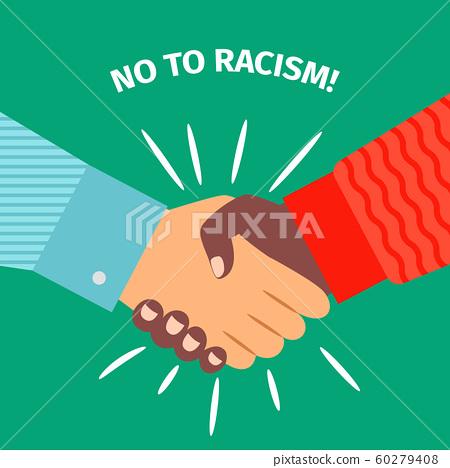 No to racism, handshake businessman agreement 60279408