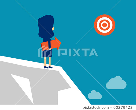 Woman standing with arrow direction. Concept 60279422