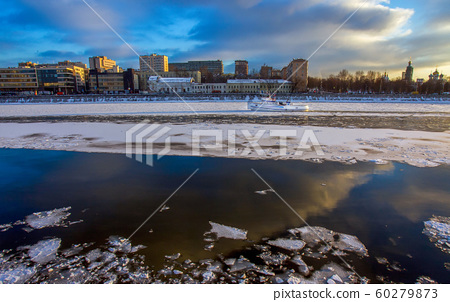 Small  boat -  Icebreaker on Moskva river.Moscow . 60279873