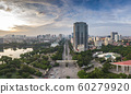 Nghia Do Park, Nguyen Van Huyen Street and Vietnam Museum of Ethnology, Ha Noi, Viet Nam. Panorama Aerial Drone Shot 60279920