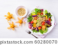 Vegetables salad with quinoa seed, healthy food, top view 60280070
