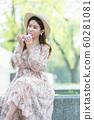 The look of a beautiful Korean woman, a park walk 60281081