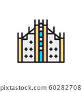 Milan Cathedral, landmark of Milan, Italy flat color line icon. 60282708