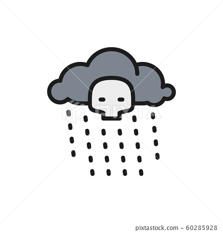 Radioactive rain flat color line icon. Isolated on white background 60285928