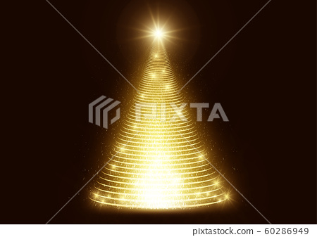 Illuminated light sparkle shiny glitter Christmas tree on dark background  60286949