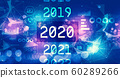 2020 New Year concept with technology light background 60289266