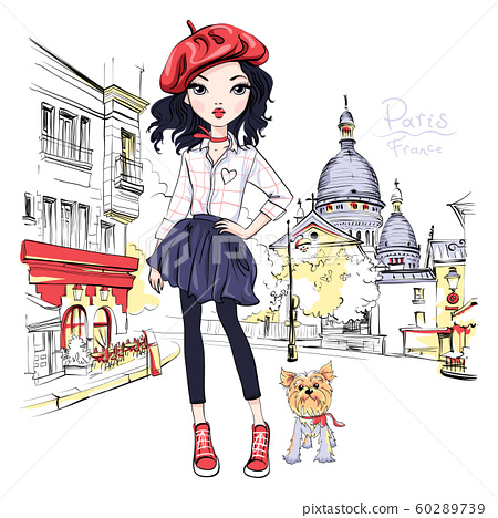 Vector fashion girl in Paris 60289739