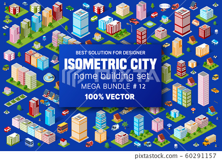 Isometric set building houses icons of blocks module 60291157