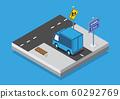 Isometric set cars and trucks transport 60292769