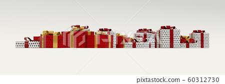 Red and White Gift on White panoramic banner 60312730