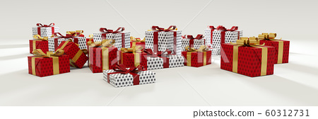 Red and White Gift on White background panoramic 60312731
