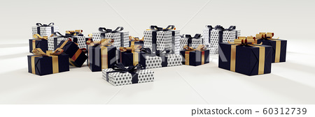 Dark Blue and White Gift on White background 60312739