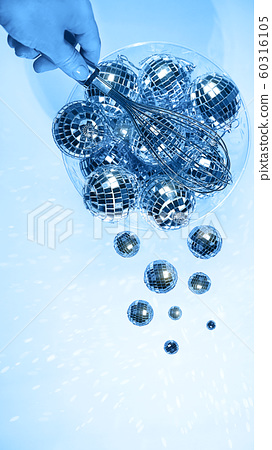 Blue color 2020 with creative pattern made of silver disco balls. 60316105