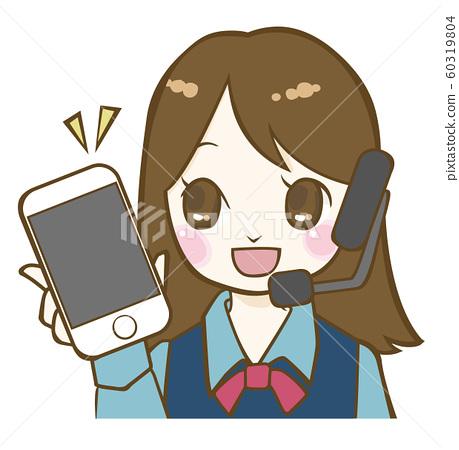 스마트 폰을 가지고 콜센터 여성 60319804