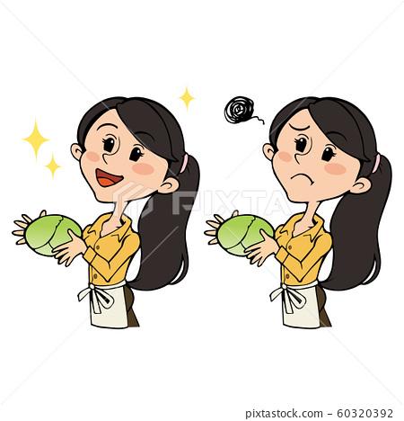 양배추를 가지고 앞치마 차림의 여성 : 미소 곤란 얼굴 세트 60320392