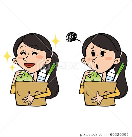 쇼핑백을 가지고 여성 : 미소 곤란 얼굴 세트 60320393