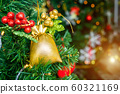 Close up of Colorful balls on Green Christmas tree 60321169
