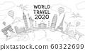 World travel landmark doodles style vector 60322699