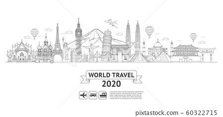 World travel doodle art drawing style vector 60322715