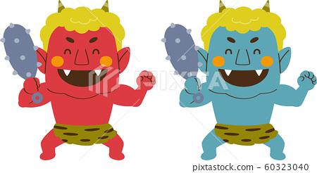 用金條微笑紅色和藍色的惡魔 60323040