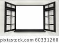 An opened plastic black window. 3d render 60331268