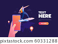 Smartphone application for buying flight tickets. Vector 3d illustration of phone and airplene. Online travel agency concept. 60331288
