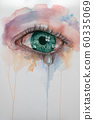 Beautiful watercolor illustration with crying green eyes and drop tear. 60335069