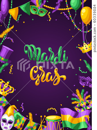 Mardi Gras party greeting or invitation card. 60339884