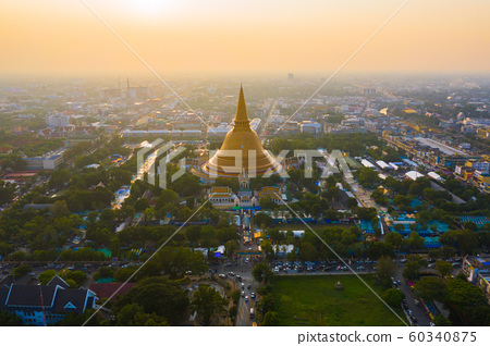 Aerial top view of Phra Pathommachedi temple at 60340875