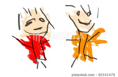 아이가 그린 웃고있는 두 사람의 낙서 60341478