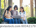 Students young asian together reading book study 60342170