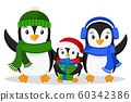 Family of penguins and the little penguin with a 60342386