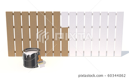 A wooden fence painted about half with white paint 60344862