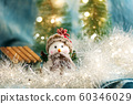 Snowman with festive Christmas holiday background 60346029