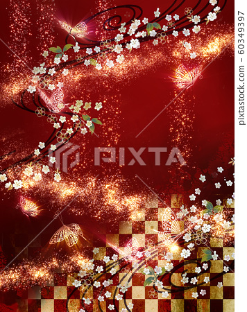 日式蝴蝶閃光背景紅色 60349397