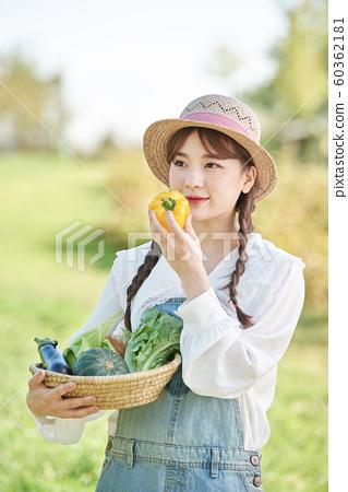 農業女孩的生活方式蔬菜 60362181