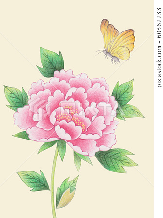 Korean traditional background crayon-peony flower and butterfly 60362233