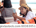 Female tourists using mobile phones to take a photo. 60363051