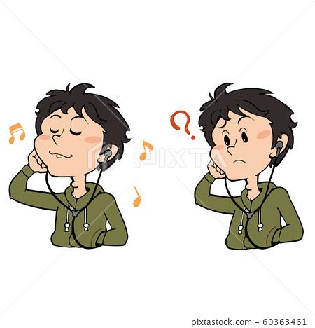 이어폰으로 음악을 듣고있는 남성 : 미소 곤란 얼굴 세트 60363461